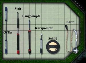 Die verschiedenen Pompfenarten (1 Kästchen=25x25cm). Quelle: Jugger.de