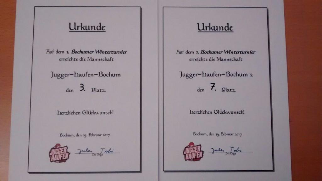 Urkunden 1. Bochumer Winterturnier